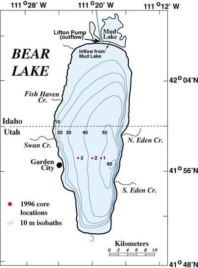 A topo or bathymetric map of a lake.